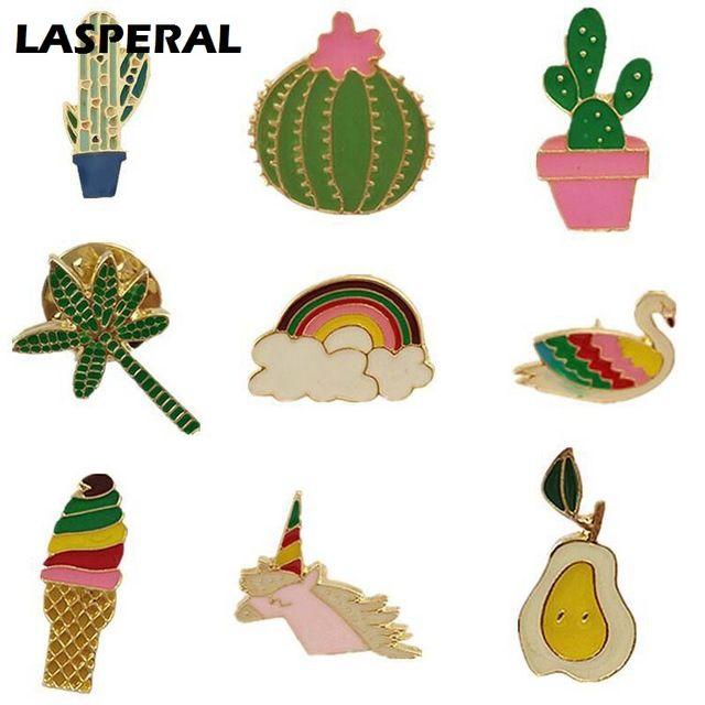 LASPERAL 1 PC Broszka Pins Dla Kobiet Mężczyzn Śliczne Kaktus Lody Emalia Pin Broszki Moda Broszki Biżuteria Prezent Dla dzieci