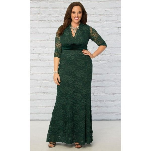 Kiyonna Luxurious Lace Gown-Sale ($198) ❤ liked on Polyvore featuring plus size women's fashion, plus size clothing, plus size dresses, plus size gowns, garden estate, plus size, plus size formal dresses, green lace dress, plus size evening gowns and plus size evening dresses