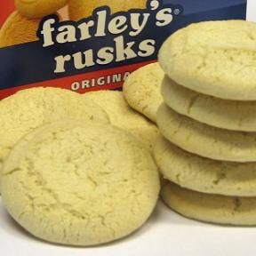 In the United Kingdom, Farley's Rusks are a dry biscuit dating from the 1880s, but manufactured by Heinz since 1994. They are usually given to infants, either soaked in milk and mashed up, or in their original hard form as a teething aid. They have a cult following among university students. Study found 100g of Farley's Original Rusks contained more sugar than 100g of chocolate biscuits. (all my sister and brothers had these when they were little)
