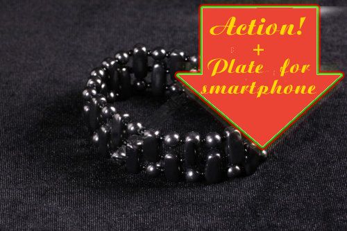 Male bracelet Shungite+ Plate for smartphone. Products on sale! by ShungiteofKarelia on Etsy