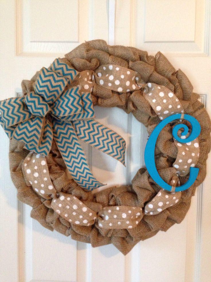 BURLAP INITIAL WREATH, Personalized Wreath, Chevron Burlap Wreath, Year Round Wreath , Front Door Wreath by Toleshack on Etsy https://www.etsy.com/listing/208854743/burlap-initial-wreath-personalized