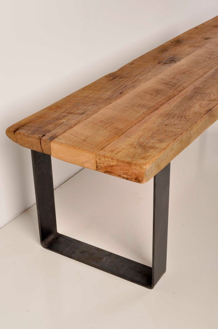 Modern log bench - Reclaimed Barn Wood And Industrial Metal Bench