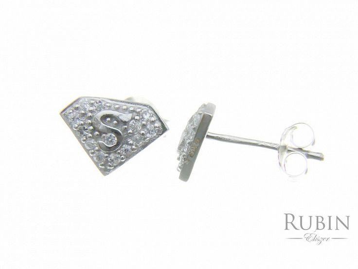 Ródiumos S motívumos cirkónia köves ezüst  beszűrós fülbevaló