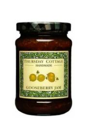 Thursday Cottage Gooseberry Jam. All natural and made by hand in the English countryside. Also Available: Bramble Jelly, Victoria Plum Jam, Strawberry Jam, Rhubarb and Ginger Jam and Blackcurrant Jam.