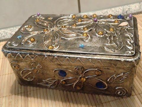 Шкатулка из коробки своими руками...Metal Tape Art #Tutorial (Aluminium Tape) - YouTube