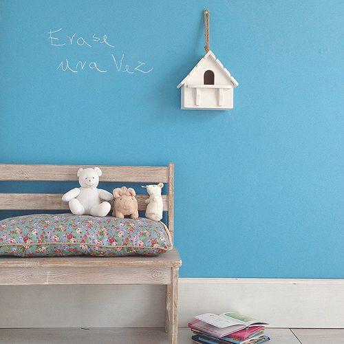 pared pintada con pintura de pizarra turquesa matilda www