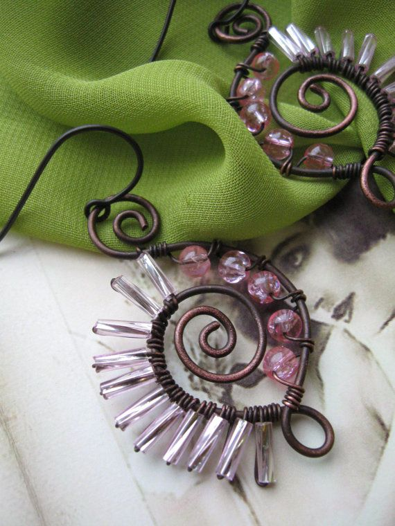 Wire Wrapped Porcupine Earrings
