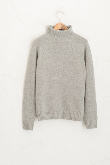 Soft Knitted Roll Neck Jumper Grey 50% Wool, 50% Cotton.