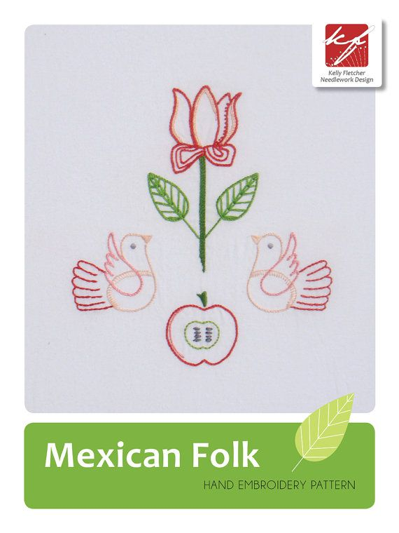 Mexican Folk hand embroidery pattern by KFNeedleworkDesign on Etsy