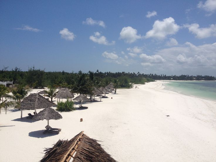 From the roof of the beach bar.... :) A long long white sand beach!