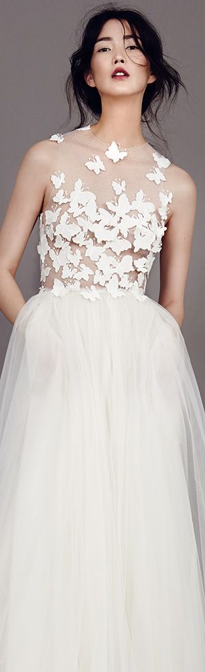 kaviar gauche couture bridal 2015 papillon d amour sleeveless pretty wedding dress illusion bodice with butterfly motifs #weddingdress #weddingdresses