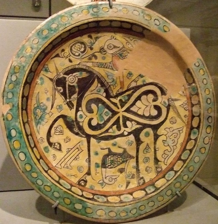 Earthenware bowl - image of a horse. 800-1200 CE. Eastern Iran Nishapur or Uzbekistan. SF Asian Art Museum