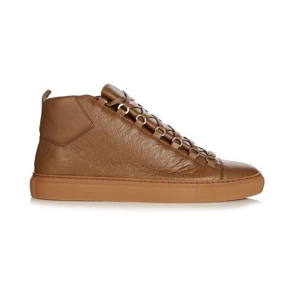 Balenciaga Arena high-top leather trainers ($585) ❤ liked on Polyvore featuring men's fashion, men's shoes, men's sneakers, mens high top shoes, mens high top sneakers, balenciaga mens sneakers, balenciaga mens shoes and mens leather high top shoes