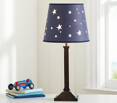 Jared Star shade #PotteryBarnKids - Could also DIY with navy lampshade and silver cutout stars.