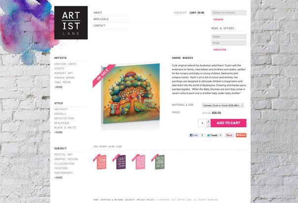Artist Lane eCommerce WordPress website