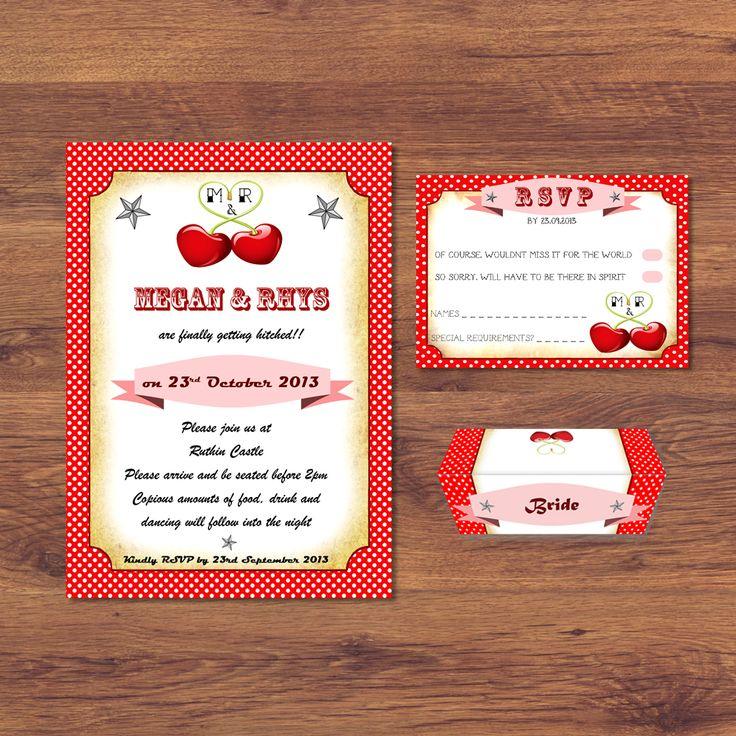 24 best wedding invitation designs images on pinterest wedding cherry dot wedding invitation vintage inspired retro vintage cherries polka dot stopboris Choice Image