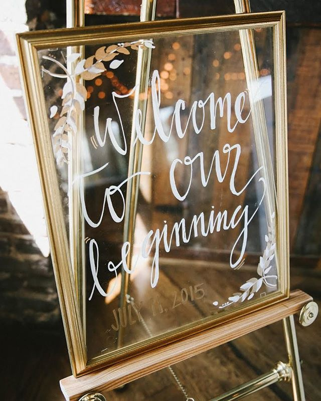 """Welcome to our beginning."" #Wedding welcome sign from today's #Birminghamwedding"