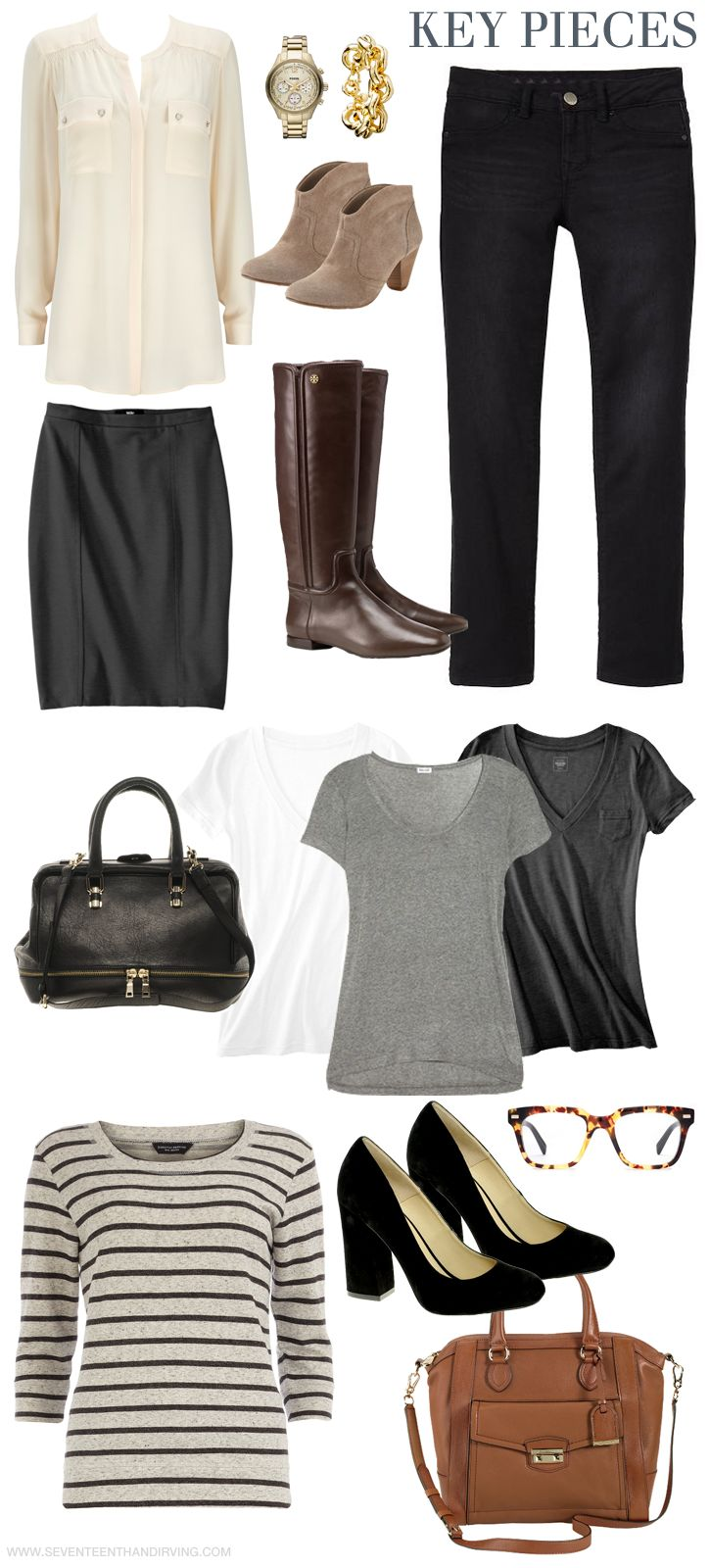 Key wardrobe pieces from the blog Seventeenth and Irving (part of a great blog series on pruning and replenishing your wardrobe)