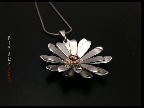 How to make a Gerbera Daisy flower pendant with Silver all by hand