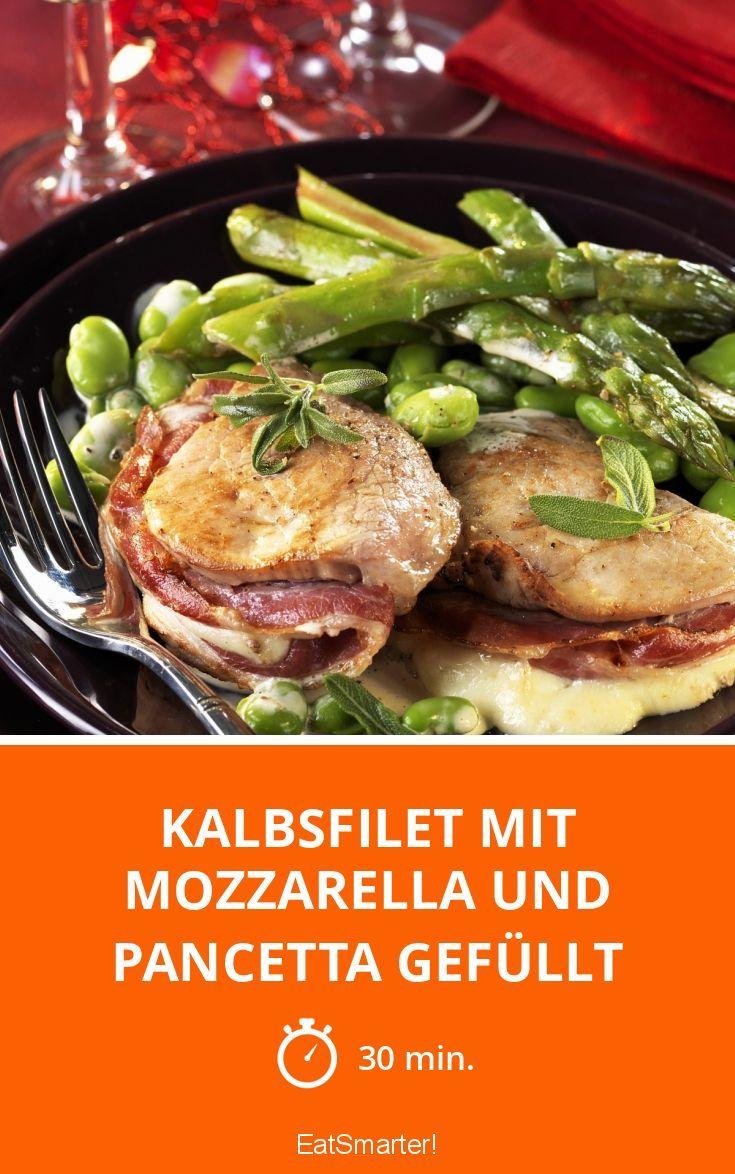 Kalbsfilet mit Mozzarella und Pancetta gefüllt - smarter - Zeit: 30 Min. | eatsmarter.de