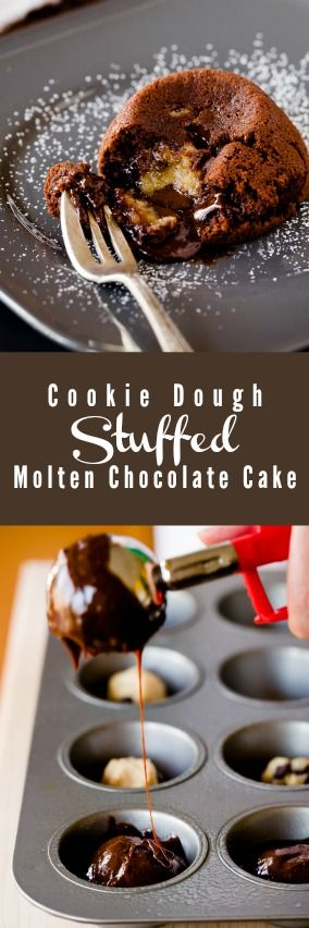 I feel faint --> Cookie Dough Stuffed Molten Chocolate Cake #sugarrush #stretchypants #movienight