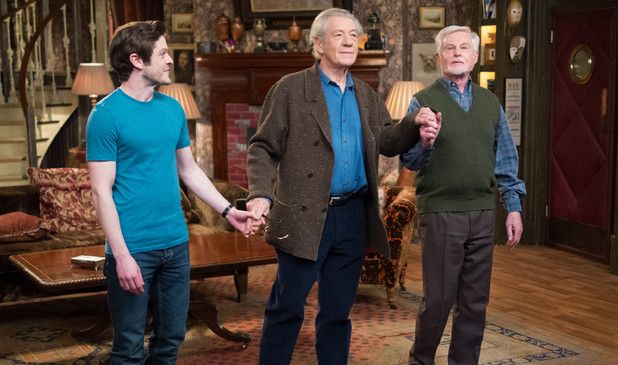 "Iwan Rheon and Sirs Ian McKellen and Derek Jacobi in ""Vicious."" These three are magnificent together and Iwan can hold his own against those two masters."