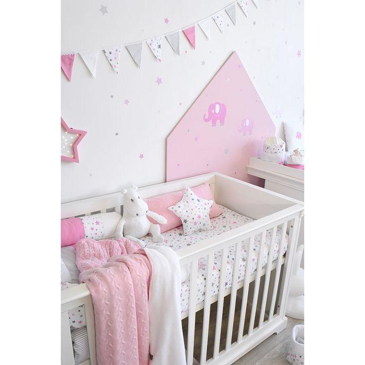 Kinderzimmer Wandsticker Sterne rosa/grau 68teilig in