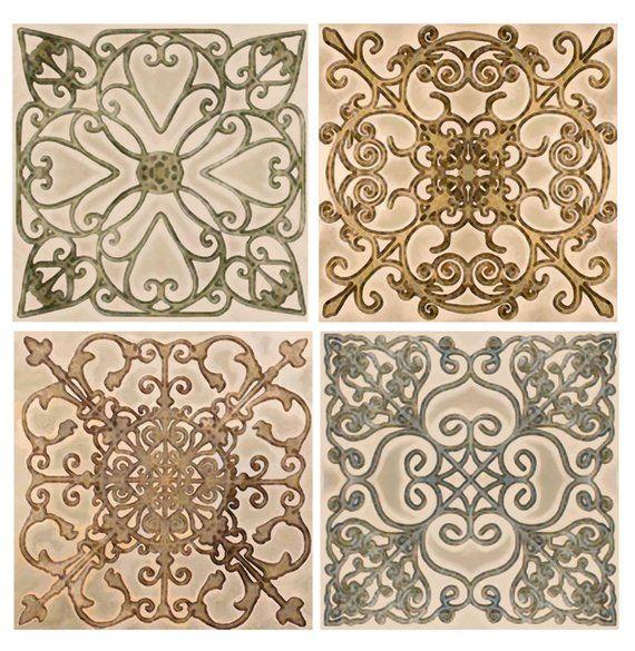 Scroll Backsplash Tile Set Ceramic Artistic Border Decorative Etsy Tile Backsplash Kitchen Backsplash Designs Tiles