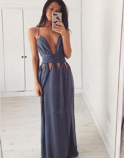 Long prom dress,sexy prom dress,simple prom dress,spaghetti strap prom dress,slit prom dress,evening dress,dresses for prom,