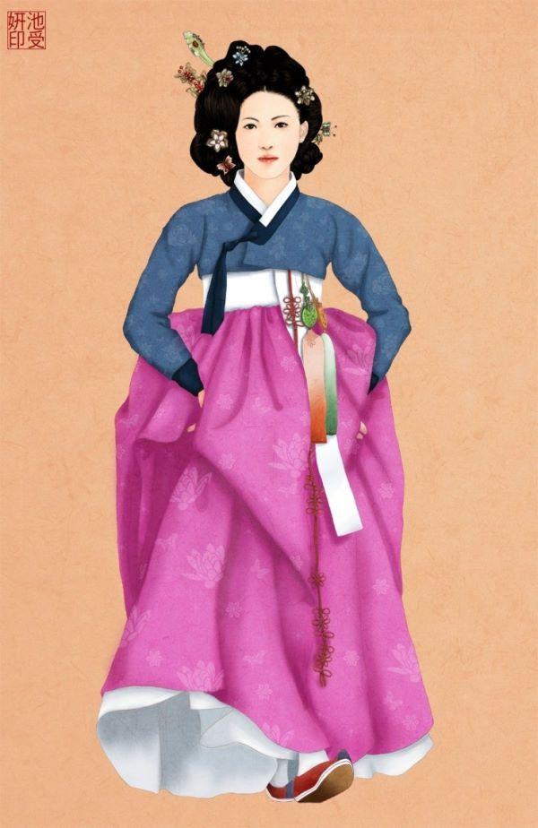 도도한 모습의 한복입은 여자/일러스트도도한 자태를 드러내는 한복입은 여자의 모습입니다.  도도한 자태를 드러내는 한복입은 여자의 모습입니다.