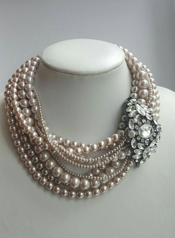 Multistrand light coffee pearl necklace with by FashionLILLA