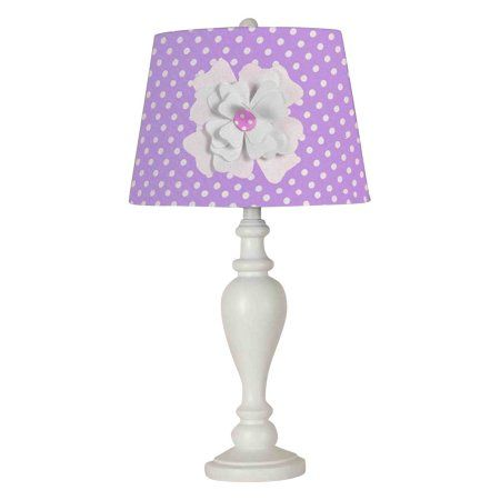 24.5 inch Purple Shade with Flower Desk Lamp/Shade, White
