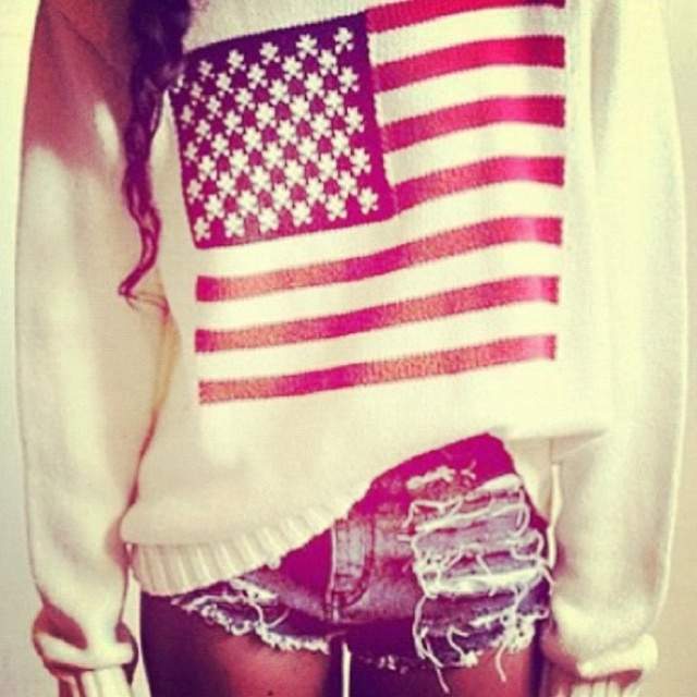 'merica: Sweaters, Outfits, Dreams Closet, American Flags, Style, Clothing, Fourth Of July, 4Th Of July, Jeans Shorts