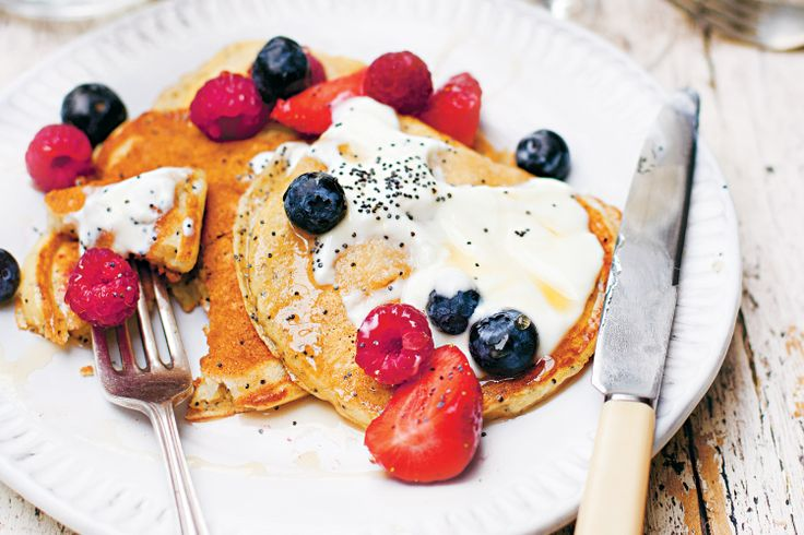 Jamie Oliver tempts with these deliciously fluffy Poppyseed & Ricotta Pancakes with Berries.