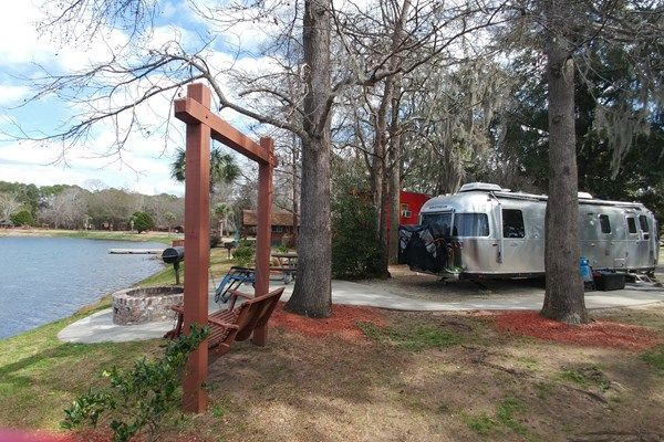 Long RV patio site situated with a front row view of the