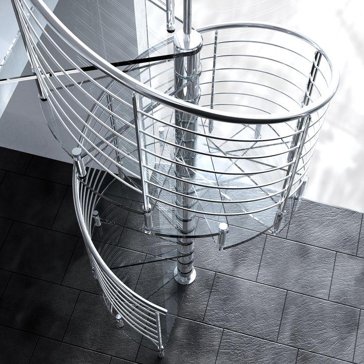 Preciosa escalera de caracol de cristal y acero inoxidable, mucho estilo
