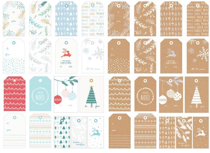 Для печати: бесплатные ярлыки на новогодние подарки | Free christmas tags