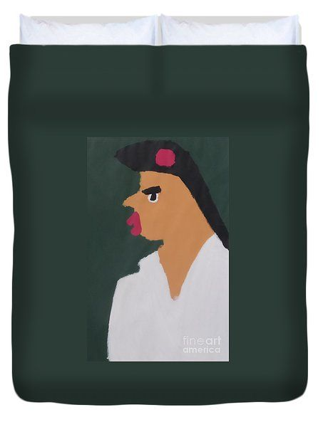 Duvet Cover featuring the painting Portrait Of A Woman With Red Ribbon 2014 - After Vincent Van Gogh by Patrick Francis