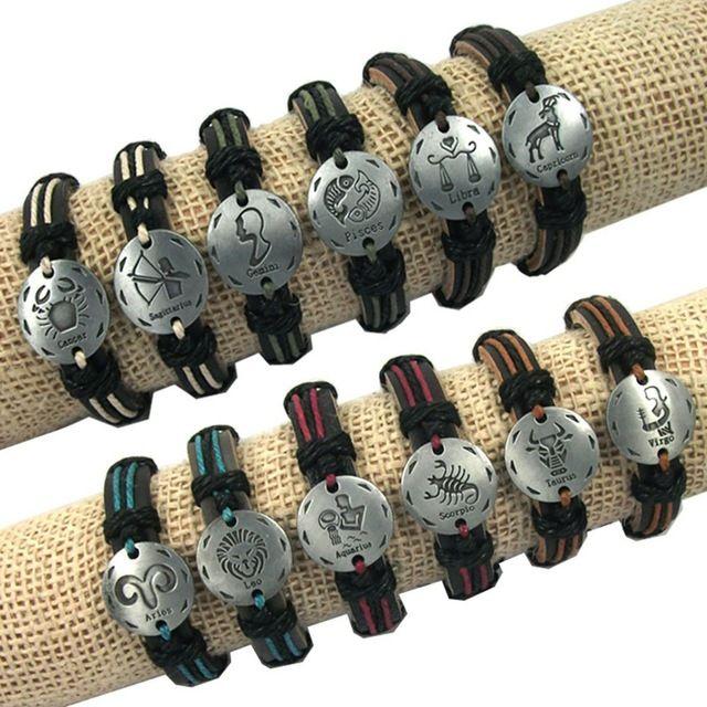 Jiayiqi 12 unids 12 konstelace hliníkové tibetské stříbrný přívěsek z pravé kůže konopí náramek ženy potítko náramek muži šperky