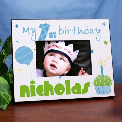 Baby Boy 1st Birthday Personalized Printed Picture Frames. Our Personalized Baby Boy's 1st Birthday Printed Frame is a great Personalized Birthday Gift for your precious little boy. The Personalized Birthday Frame is a treasured first birthday keepsake sure to be enjoyed for many years. The Grandparents, Aunts & Uncles will also love receiving this handsome Personalized 1st Birthday Frame as a truly unique gift to