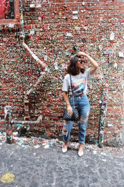 Gum wall seattle. Rock band tee + distressed denim