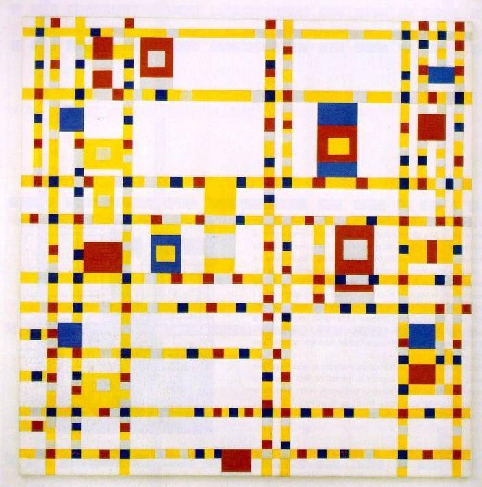 Piet Mondrian - Broadway Boogie-Woogie - Dipinto negli ultimi anni della sua vita, (1,27 m x 1,27 m) Museum of Modern Art New York - 1942–1943