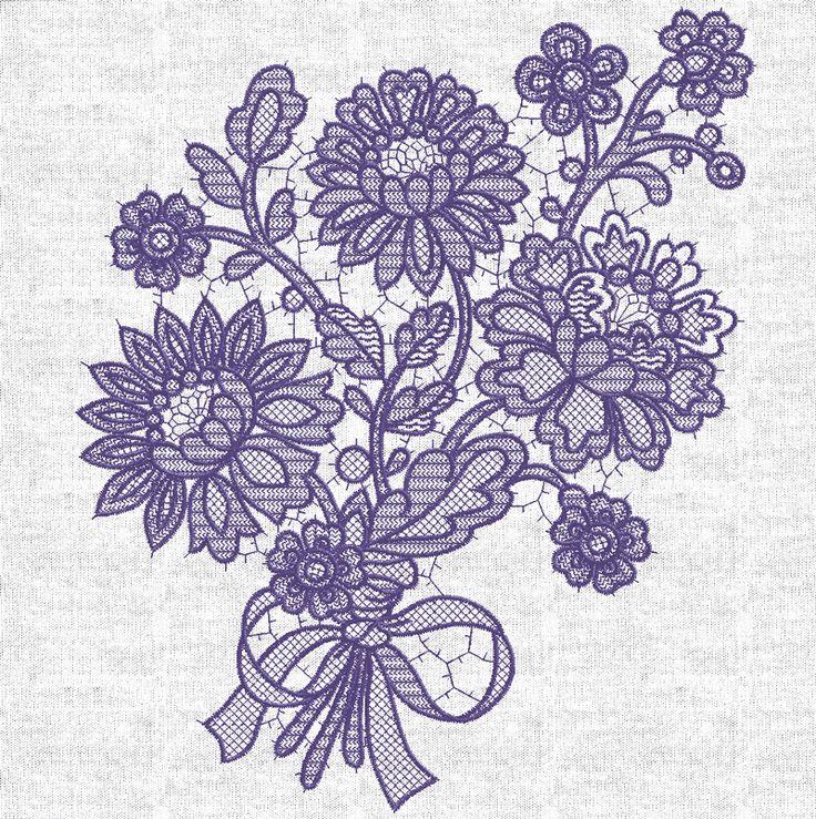 Machine Embroidery Design Lace Bouquet - 4 sizes