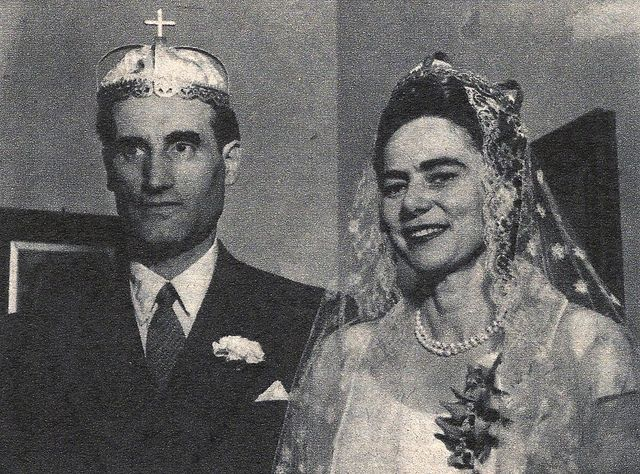 Wedding of Princess Ileana to Dr. Stefan Issarescu, Newton, MA.  The couple was married in 1954, the same year Ileana divorced her 1st husband, Archduke Anton of Austria.  Ileana and Stefan had no children and their marriage also ended in divorce in 1965, 4 years after Ileana entered the Orthodox Monastery of the Protection of the Mother of God, in Bussy-en-Othe, France.