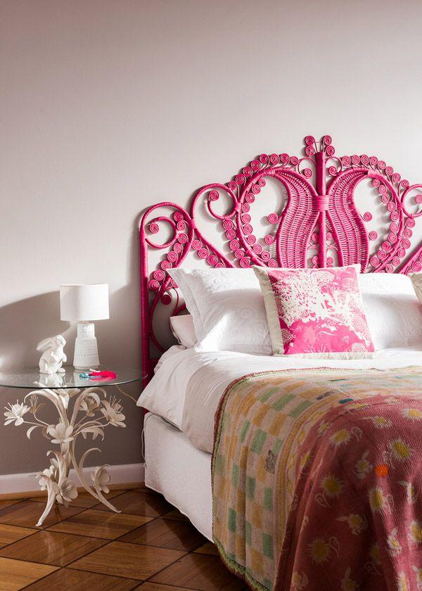 Pink rattan peacock headboard white duvet kantha quilt style kids bohemian pinterest