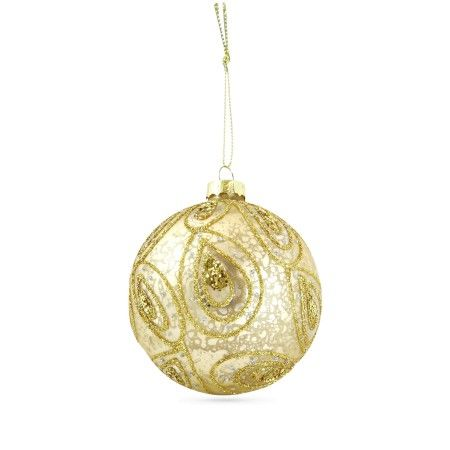 Gisela Graham, Set of 4 Antique Gold Glitter Baubles, Buy Online at LuxDeco