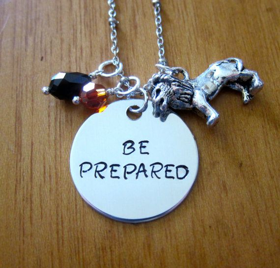 "Disney's Lion King Inspired Necklace. Villain Scar quote ""BE PREPARED"" by WithLoveFromOC, $22.00. Swarovski crystals and a lion charm."