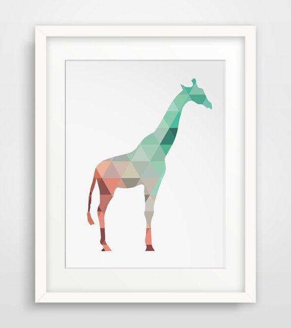 Giraffe Print Mint Coral Art Giraffe Wall by MelindaWoodDesigns #giraffeprints