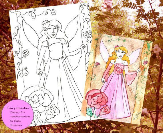 Digital Stamp - Lavender Rose Fairy - Instant Download - Coloring book page - Fantasy art by Niina Niskanen
