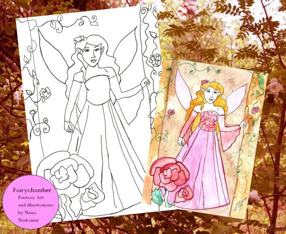 Digital Stamp - Lavender Rose Fairy - Instant Download - Coloring book page - Fantasy art by Niina Niskanen
